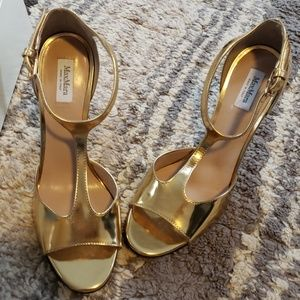 Shoes - Max Mara Gold Strappy Heels Sandals Camice 38.5